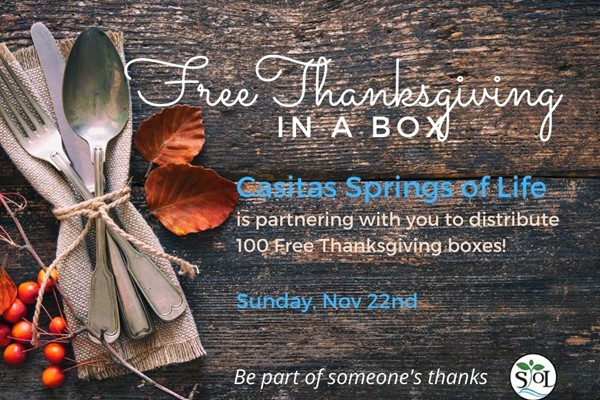 Thankgiving In A Box for the Community of Casitas Springs